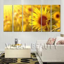 6Panel Sunflower Decoration Etuvage en Toile