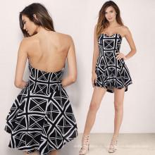 Платье для вечеринок без плеча Полосатая полосатая юбка