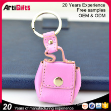 Personalized pu leather bag shaped mini coin purse keychain