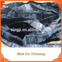 Mink Fur Trim, color negro, piel genuina