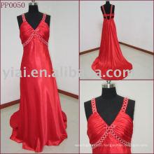 PP0050 Beautiful V Neck Red Long Evening Dress