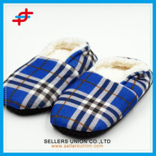 Check Patterned Winter Slipper Cotton Fleece Lining Man Slipper