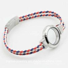 Jóias de moda pulseira de couro com flutuante Locket para presente