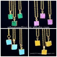 Fashion 24k gold edge natural stone pendant necklace