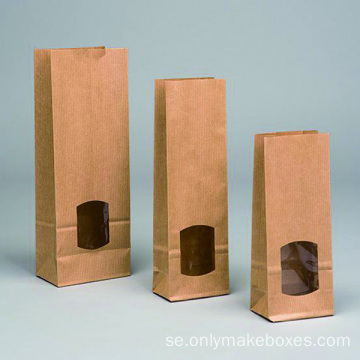 Fönster Kraft Paper Block Bottom Bags