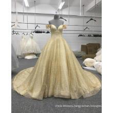 Arabic wedding dress sweetheart gold off shoulder bridal gown WT508