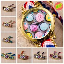 Hot handmade Woven fabric women geneva quartz wrist watch vogue watch