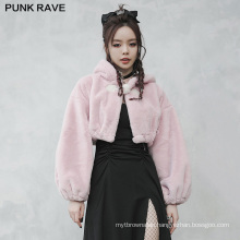 PUNK RAVE OPY-492XDF women vintage velvet small ear cap dark series loose plus size short coat