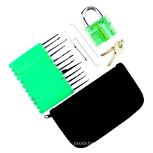 Green Transparent Practice Padlock with Canvas Bag 15PCS Lockpicking Tools Green Silicon Case (Combo 6-4)