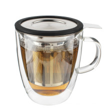Hot New Products for Creative Double Wall Borosilicate Glass Tea Infuser Mug/Cup With Lid Steeping Cup