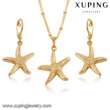 61603-Xuping Fashionable Starfish Wedding Earring Necklace Jewelry Set