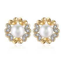 Zircon Women Earrings Imitation Pearl Zircon Earrings Champagne Gold Plated Flower Shape Earrings