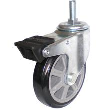 Eg01 Threaded Stem PU Caster with Dual Brake (Black)