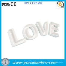 White Love Letters Novelty Ceramic Plates