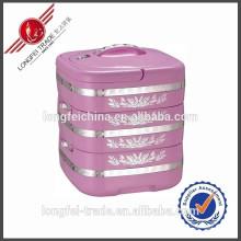 Récipient de nourriture d'acier inoxydable de 3 couches / récipient en plastique de réchauffeur de nourriture