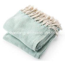 Herringbone Weave 100%Cotton Blanket Throw