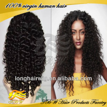 Preços de fábrica de alta qualidade popular encaracolado branqueada nós invisível linha do cabelo encaracolado Profunda peruca dianteira do laço