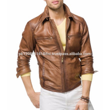 CUSTOM MADE BROWN LEATHER JACKET WITH ZIPPER DESIGN COWBOY