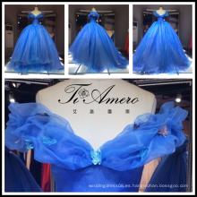 Organza Off-hombro 2017 vestido azul para el partido nupcial de la bola de lujo vestido de Tiamero 1A150