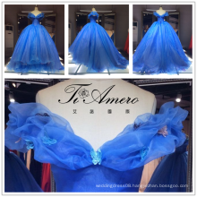 2017 Blue Ball Gown Bridal For Party Luxury Organza Off-Shoulder Wedding Dress Tiamero 1A150