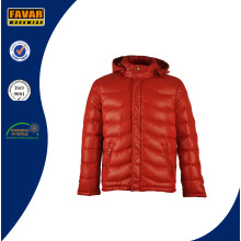 100%Polyester/Nylon Shell Fabric Windproof Down Jacket with Hood
