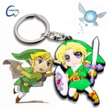 Porte-clés en cuir pvc Zelda de bande dessinée japonaise, porte-clés en caoutchouc pvc