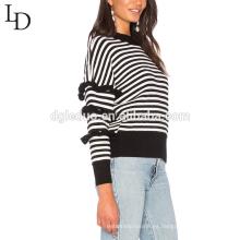 Suéter de dos colores del suéter del diseño del punto de encargo a rayas de mujer suéter para el invierno