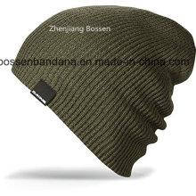 China Factory OEM Produce Black Acrylic Knitted Warm Slouchy Ski Hat