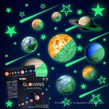 Kinder entfernbare Mond Sterne Planet Glow In The Dark Aufkleber Nacht leuchtenden Raum Wandtattoo