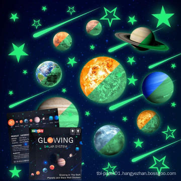 Kids Removable Moon Stars Planet Glow In The Dark Sticker Night Luminous Room Wall Decal
