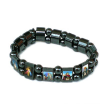 Hematite Rosary Bangles with Saint′s Picture