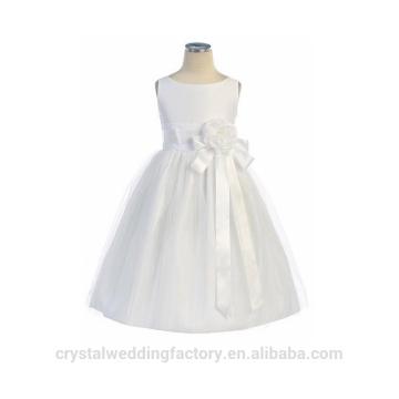 Los niños de la boda de 2-12 años de edad de moda de tul blanco y vestido de bola largo Flower Girl vestidos patrón de los niños partido de desgaste LF04