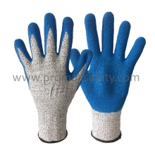 Cut 5 Knitted Cut Resistant Gloves with Blue Crinkle Latex Palm Coated