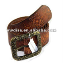 Embossing Leather Belts For Man With Antique Gold Plated Buckle