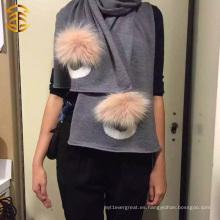 2016 Bufanda gris del algodón de la manera de las mujeres con Pom Pom