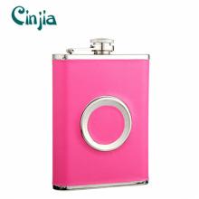 Multifuncional rosa couro cobrir frasco hip com um copo portátil