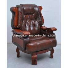 Boss Silla de oficina con brazos, silla de oficina de cuero de lujo