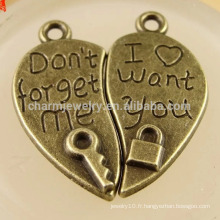 Alloy Love Floating Locket et clés Charms Jewelry lovers Pendentifs DPC003