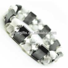 Magnetisches Hämatit Space Armband mit Legierung und 8MM Howlite Runde Perlen