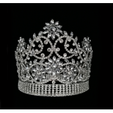 Diamante redondo completo Miss World Crown Tiara de flores