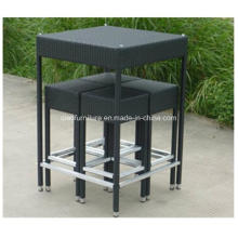 Сохранить Стоимость доставки PE плетеный стол высокий черный бар