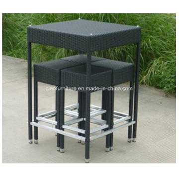 Save Shipping Cost PE Wicker Table High Black Bar Set