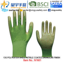 13G Полиэфирные оболочки с нитриловыми перчатками (N1601) Гранулированная отделка с CE, En388, En420, рабочие перчатки