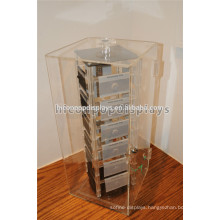 Rotating Plexiglass Lucite Clear Acrylic Jewelry Showcase Display For 24 removable Fashion Pin Holders