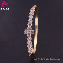 Fashion Bracelet Trendy Gold Plated Crystal CZ Bangle