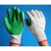 Gants en caoutchouc vert garni de sécurité pour l'industrie