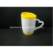 Caneca da sublimação com tampa do silicone e parte inferior