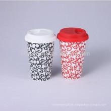 Keramik-Kaffeetasse Gummi-Deckel, Reisebecher mit Silikon-Deckel