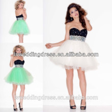 HC2007 Deep sweetheart neckline sparkly beaded short dress two-tone cocktail dresses