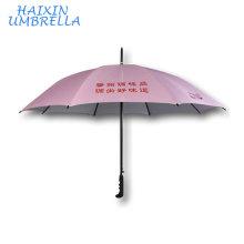 Пользовательские розовый Анти-УФ китайские производители прямых продаж Оптовая продажа 23 дюймов стекловолокна двойные Нервюры длинной ручкой зонтик изготовленный на заказ Логос